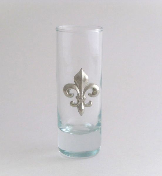 Shot/Cordial Glass with a Pewter Fleur de Lis