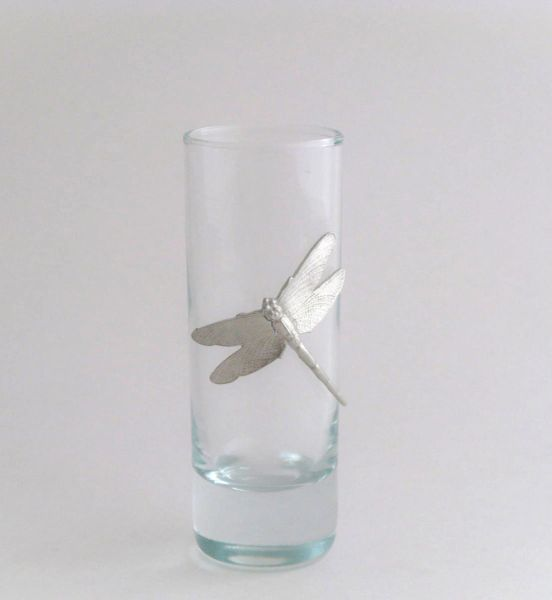 Shot/Cordial Glass with Pewter Dragonfly