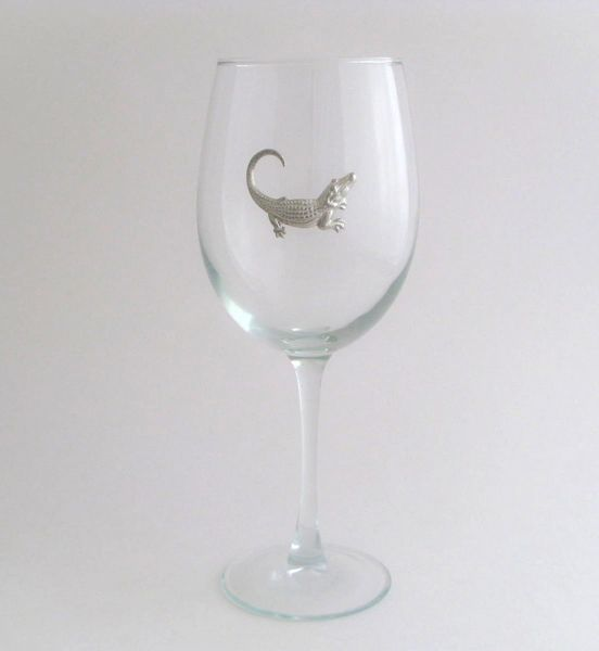 Wine Glass with Pewter Alligator, Set of 4