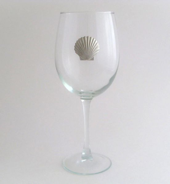 Wine Glass with Pewter Clam, Set of 4