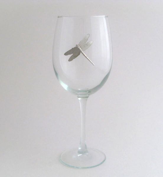 Wine Glass with Pewter Dragonfly, Set of 4