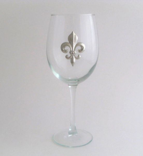 Wine Glass with a Pewter Fleur de Lis, Set of 4