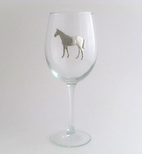 Wine Glass with Pewter Horse, Set of 4