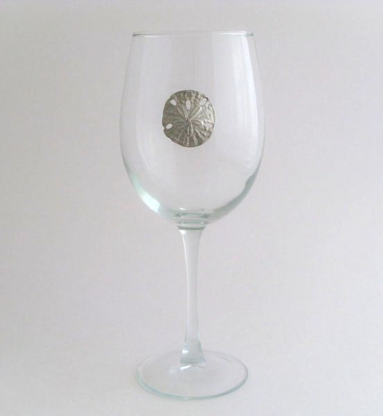 Wine Glass with Pewter Sand Dollar, Set of 4