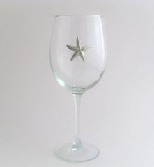 Wine Glass with Pewter Starfish