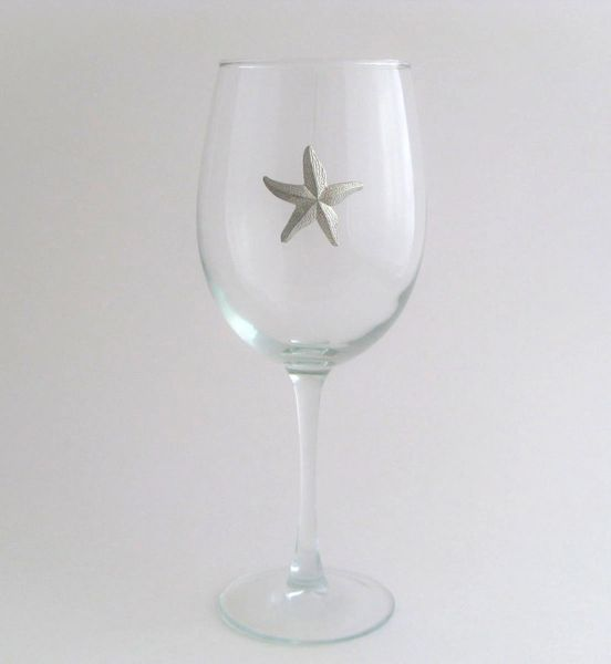 Wine Glass with Pewter Starfish, Set of 4