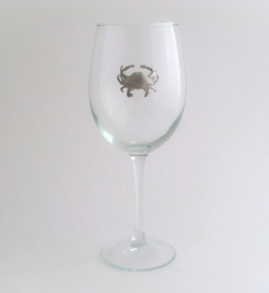 Wine Glass with Pewter Crab, Set of 4