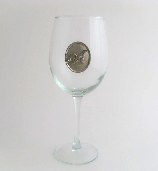 Wine Glass with Pewter Initial, Set of 4