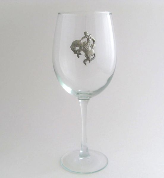 Wine Glass with Pewter Cowboy, Set of 4