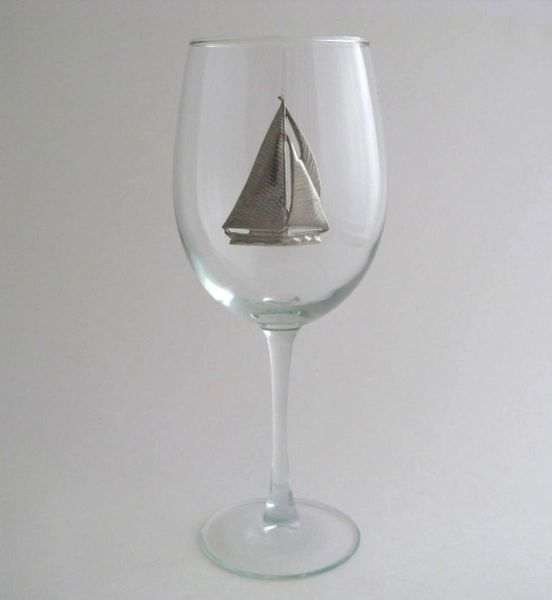 Wine Glass with Pewter Sailboat, Set of 4