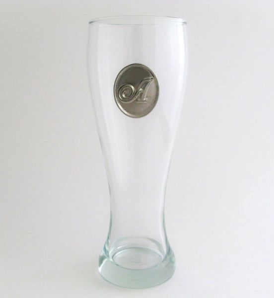 Pilsner Glass with Pewter Initial