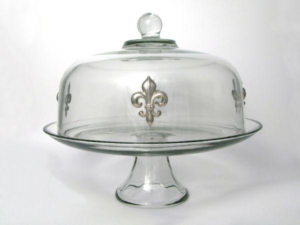 Pedestal Cake Plate with Pewter Fleur de Lis