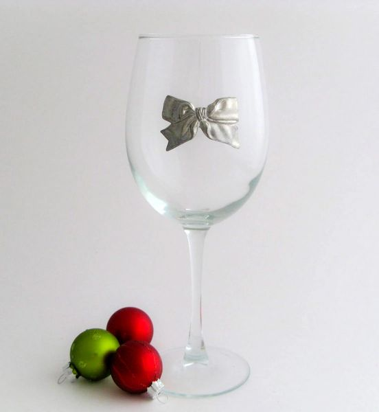 Wine Glass with Pewter Bow, Set of 4