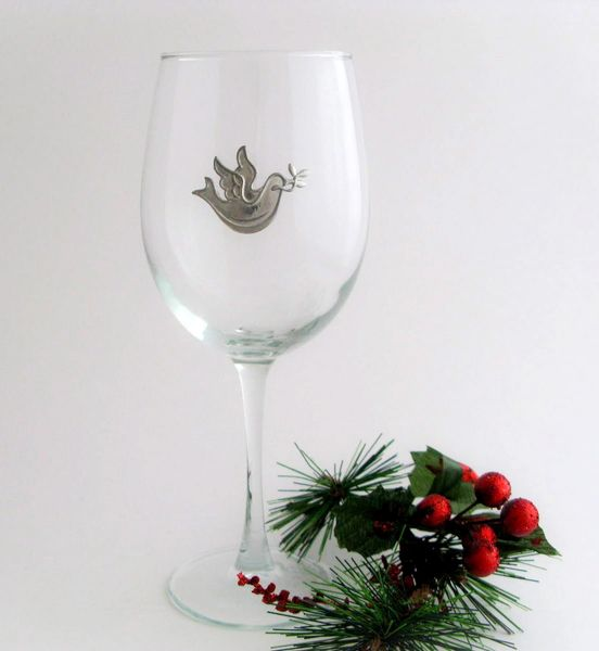 Wine Glass with Pewter Dove, Set of 4