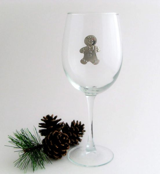Wine Glass with Pewter Gingerbread Man