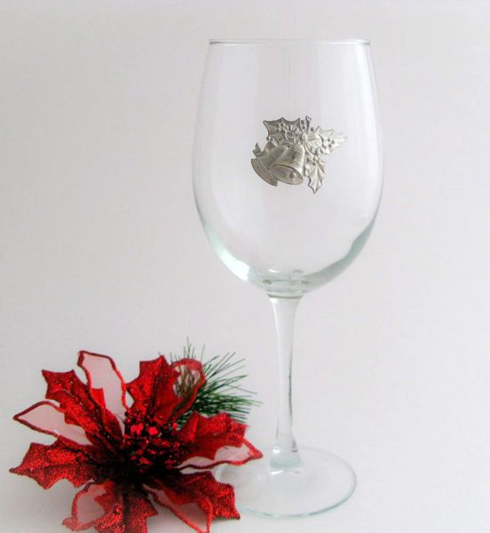 Wine Glass with Pewter Holly Bells