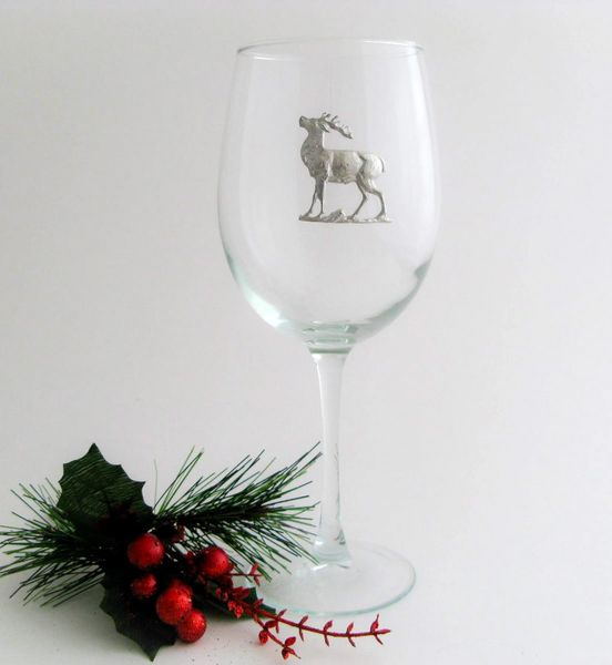 Wine Glass with Pewter Reindeer, Set of 4
