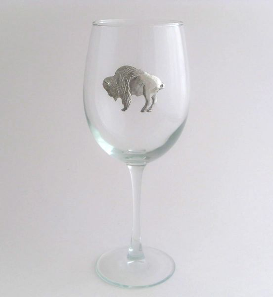 Wine Glass with Pewter Buffalo, Set of 4