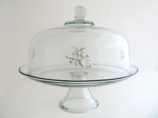 Pedestal Cake Plate with Pewter Pinecone Branch