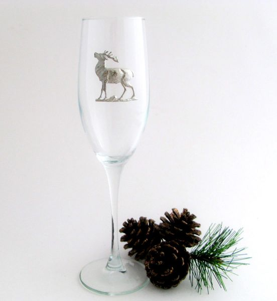 Flute Glass with Pewter Reindeer