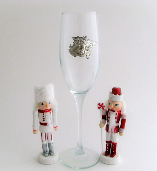 Flute Glass with Pewter Holly Bells