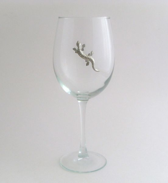 Wine Glass with Pewter Lizard, Set of 4