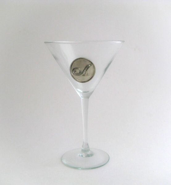 Martini Glass with Pewter Initial