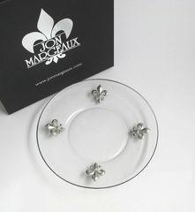 Appetizer Plates with Pewter Fleur de Lis