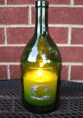 Wine Bottle Candle Cover with Pewter Golf Scene