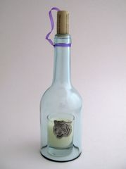 Wine Bottle Candle Cover with Pewter Tiger