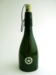 Wine Bottle Candle Cover with Pewter Texas Star