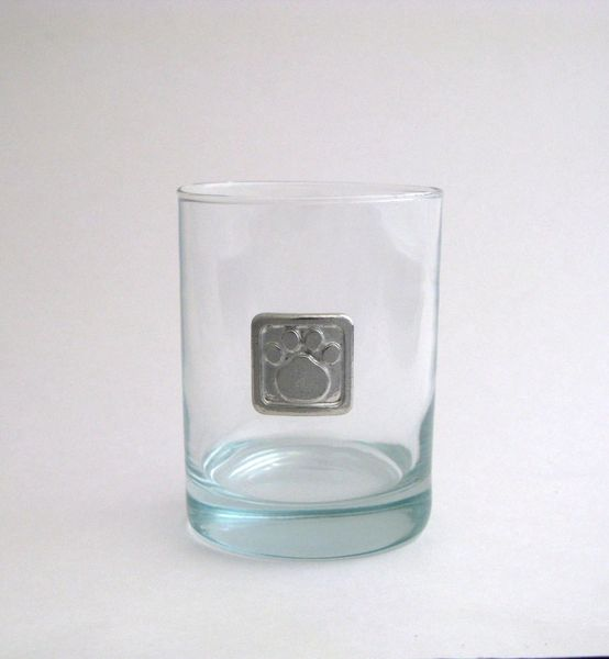 Rocks Glass with Pewter Paw Print