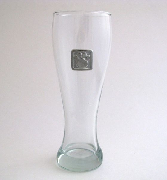 Pilsner Glass with Pewter Paw Print
