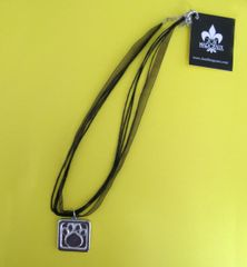 Paws for a Cause Black Ribbon Necklace with Pewter Paw Print