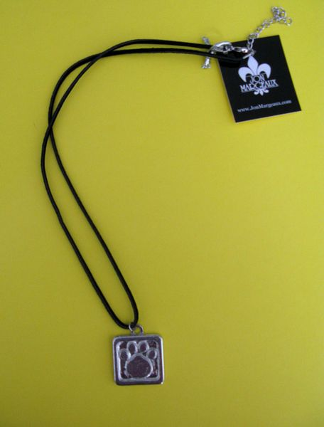 Paws for a Cause Black Silk Cord Necklace with Pewter Paw Print