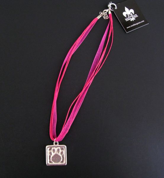 Pink Ribbon Necklace with Pewter Paw Print
