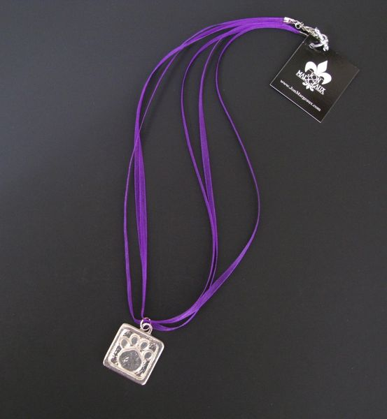 Purple Ribbon Necklace with Pewter Paw Print