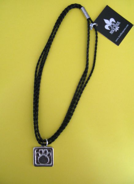 3 Strand Braided Black Leather Necklace with Pewter Paw Print
