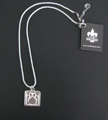 Silver Fabric Cord Necklace with Pewter Paw Print