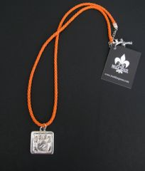 Paws for a Cause Orange Fabric Cord Necklace with Pewter Paw Print