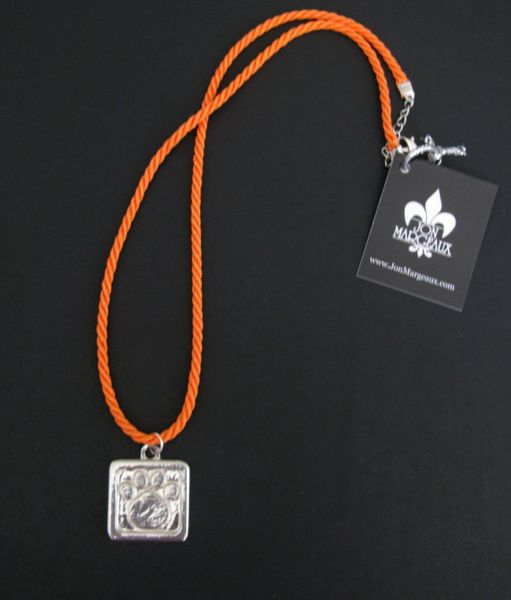 Paws for a Cause Orange Necklace with Pewter Paw