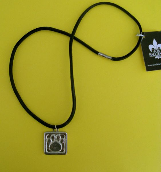 Paws for a Cause Black Leather Cord (.5 mm) Necklace with Pewter Paw Print