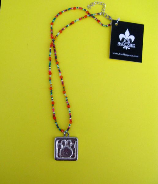 Paws for a Cause Orange Beaded Necklace