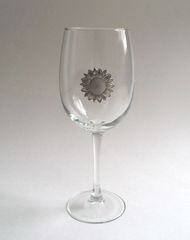 Wine Glass with Pewter Sunflower