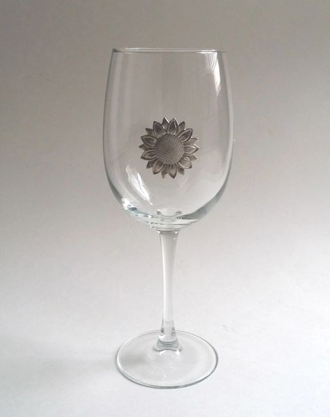 Wine Glass with Pewter Sunflower, Set of 4