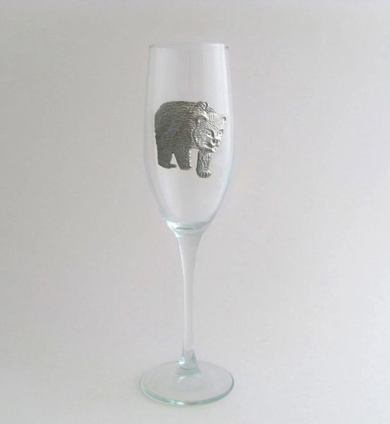 Flute Glass with Pewter Bear