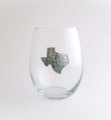 Stemless Wine Glass with Pewter State of Texas