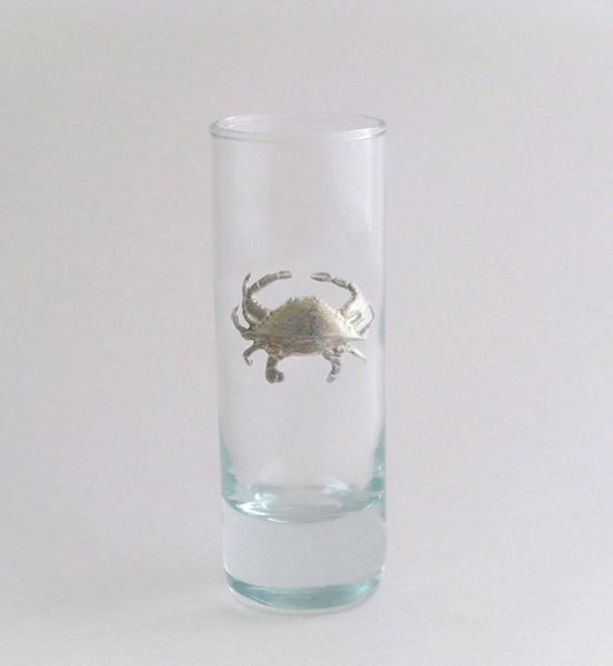 Shot/Cordial Glass with Pewter Crab