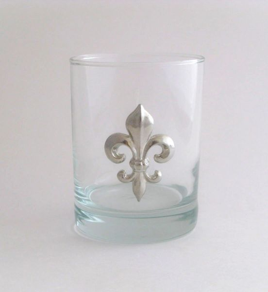 Rocks Glass with a Pewter Fleur de Lis
