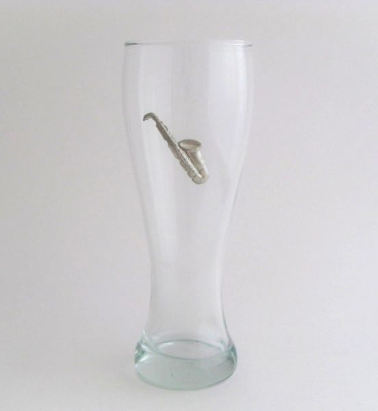 Pilsner Glass with Pewter Saxophone
